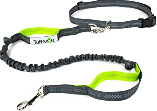Tuff Mutt Hands Free Dog Leash for Running, Walking, Hiking, Durable Dual-Handle Bungee Leash is 4 Feet Long with Reflective Stitching, with an Adjustable Waist Belt That Fits up to 42 Inch Waist