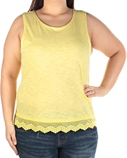 Womens Burnout Crochet Trim Tank Top