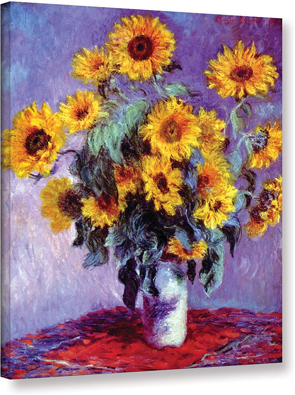 ArtWall Sunflowers by Claude Monet Gallery Wrapped Canvas, 24 by 32-Inch