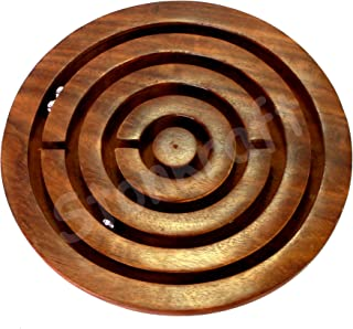 """StonKraft 4"""" Inch Handcrafted Wooden Labyrinth Board Game Balls In Maze Puzzle Toys - Indoor Puzzle Game Gifts For Kids 