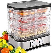 Food Dehydrator Machine, 8-Tray Fruit Dehydrators with Temperature Control(95ºF-158ºF) Knob...