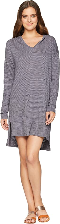 Slub Mini Stripe Drop Shoulder Hooded Tunic Cover-Up