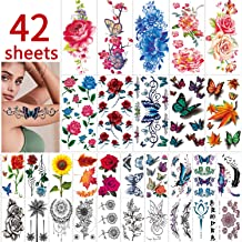 42 Sheets Flowers Temporary Tattoos Stickers, Roses, Butterflies and Multi-Colored Mixed Style Body Art Temporary Tattoos ...