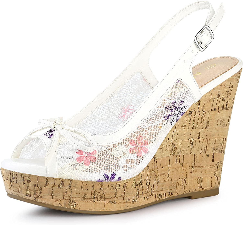 Allegra K Women's Lace Platform Memphis Mall Gifts Heel Wedges Wedge Sandals