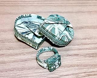 Dollar bill Money Origami heart box ring Graduation novelty token gift