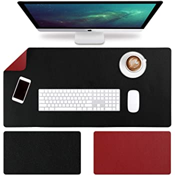Metal PU Extended Laptop keyboard mouse pad Thicken Dual use Desk Writing mat for Office Home Waterproof-Silvery 80x40cm 31x16inch