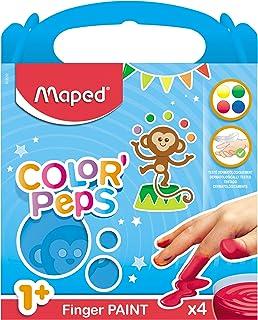 Maped Color'Peps 4 Pots de Peinture Doigt pour Bébé et Enfant dès 1 an - Gouache Pots de 80 gr - Nettoyage Facile à l'eau ...