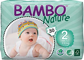 Bambo Nature Eco Friendly Baby Diapers Classic for Sensitive Skin, Size 2 (7-13 lbs), 30ct