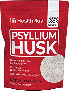 Health Plus 100% Pure Psyllium Husk Bags, 12 Ounce
