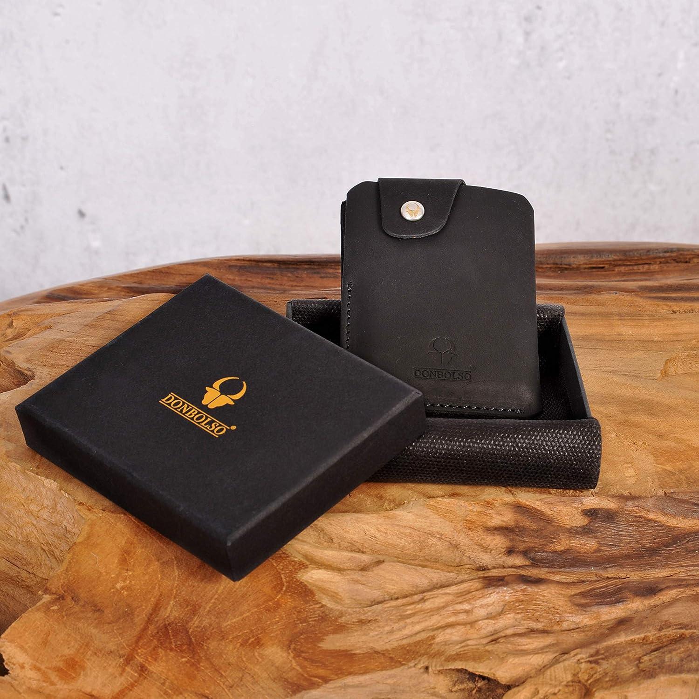 DONBOLSO/® Cartera /«Slim/» Bern con Compartimento para Monedas Tarjetero de Hombre Monedero de Cuero minicartera peque/ño Billetera Tarjetero de Hombre Cuero de Carbono