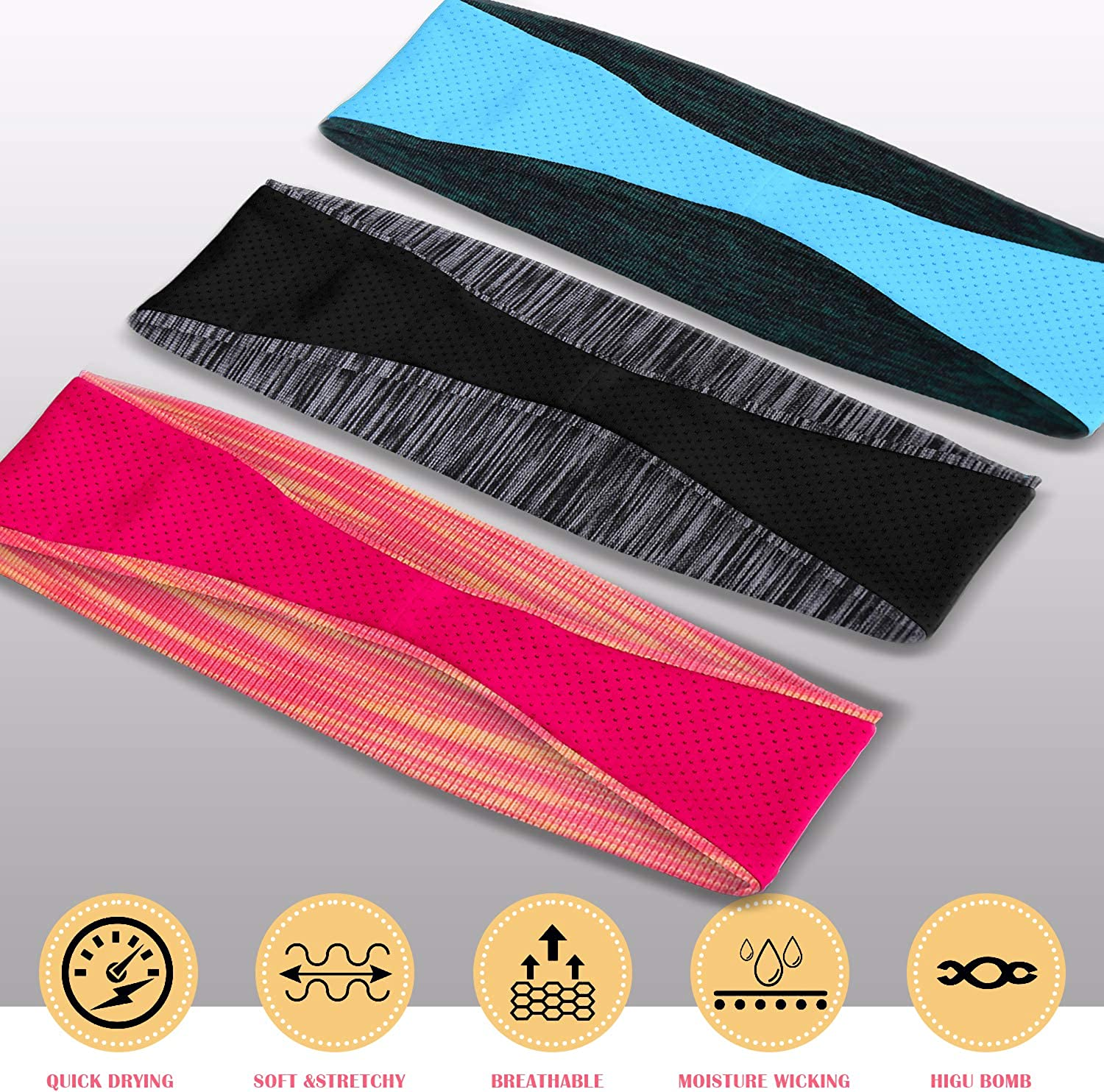 EasYoung Headbands for Women 3-Pack Sweat Wicking Headbands Womens Yoga Headbands Sports Cooling Hair Band for Running Fitness Elastic Non Slip
