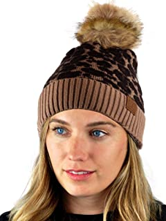 C.C Warm Knit Nylon Blend Animal Print Faux Fur Pom Cuff Beanie