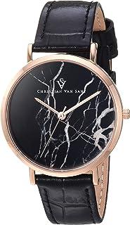 Christian Van Sant Women's Lotus Stainless Steel Quartz Leather Calfskin Strap, Black, 15.7 Casual Watch (Model: CV0423BK)