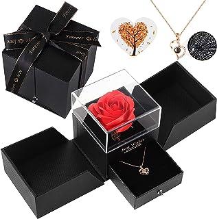 Siebwin Rose Eternelle, Coffret Cadeau Rose éternelle avec Collier Coeur en Cent Langues, Idee Cadeau Anniversaire Saint V...