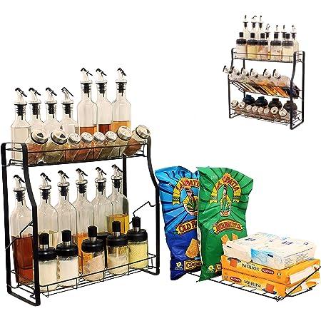 Spice Rack Organizer for Countertop | 2/3 Tier Adjustable Spice Organizer Storage Standing Shelf Seasonings Rack | Tool-Free Installation Holder for Kitchen,Bathroom,Cabinet,Pantry (Black, Steel)