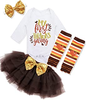 Baby Girl First Thanksgiving Outfit My 1st Thanksgiving Romper + Leg Warmers + Headband+Tutu Dress Clothing Set