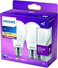 Philips LED Classic A60 Frosted Light Bulb 2 Pack [E27 Edison Screw] 10.5W - 100W Equivalent , Warm White 2700K, Non Dimmable