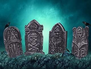 17 Inch Halloween RIP Graveyard Tombstones - 4 Pack Lightweight Foam Tombstone Halloween Decorations for Outdoor Yard Decoration