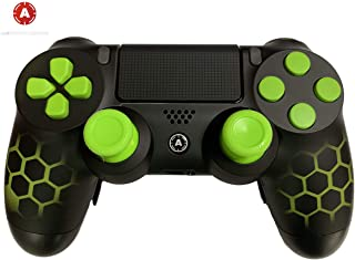 PS4 Custom AimControllers Green Hex Design with Standard Paddles and Interchangeable AiM Sticks.