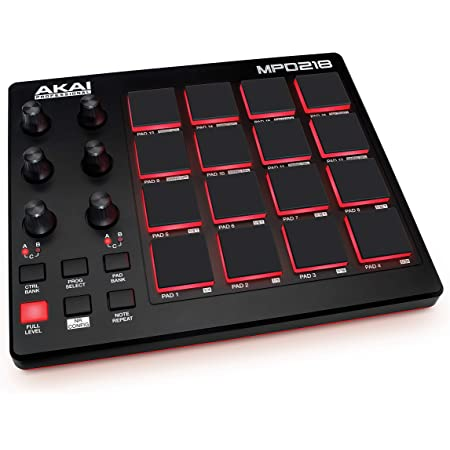 AKAI Professional MPD218, 16-Pad USB/MIDI Controller With MPC Pads, 6 Assignable Knobs, Production Software Included