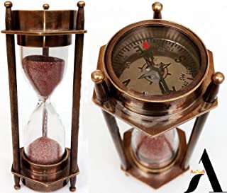 "AnNafi 5"" Decorative Brass Sand Timer Hourglass With Antique Maritime Brass Compass"
