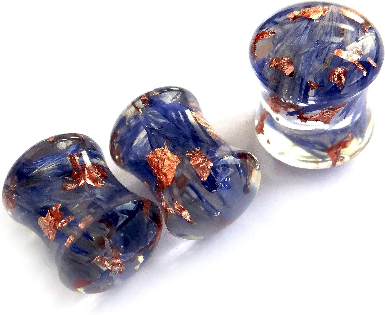ETERNIADA Blue Cornflower Ear Plugs Flower Gauge Piercing Body Jewelry Tunnels Pressed Flower and Rose Gold foil Flakes Jewelry Birthday Gifts for Sister Resin Plug Earrings