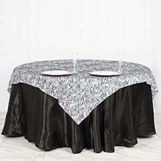 BalsaCircle 60x60-Inch Black and White Zebra Animal Print Table Overlays - Wedding Reception Party Catering Table Linens Decorations