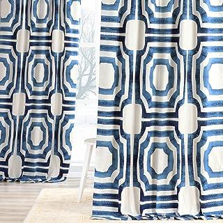 HPD Half Price Drapes PRTW-D23B-96 Printed Cotton Curtain (1 Panel), 50 X 96, Blue