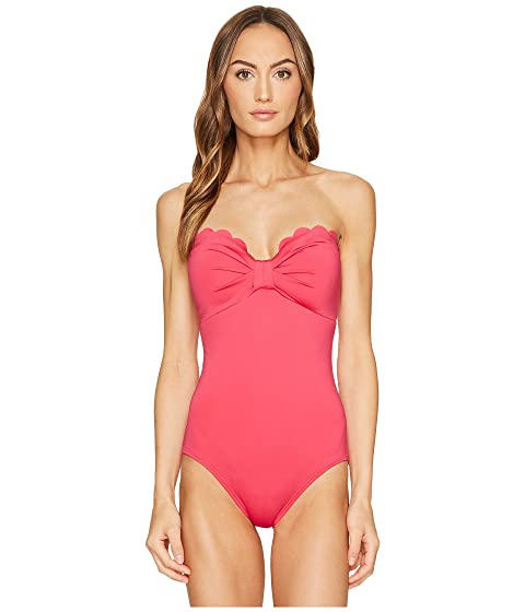 289c0bdd61492 Kate Spade New York Core Solids  79 Scalloped Bandeau One-Piece w   Removable Soft Cups   Straps