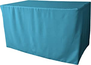 """LA Linen Polyester Poplin Fitted Tablecloth 48"""" L x 24"""" W x 30"""" H, Turquoise Dark"""