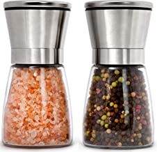 Home EC Stainless Steel Salt and Pepper Grinders refillable Set - Short Glass Shakers with Adjustable Coarseness for sea s...
