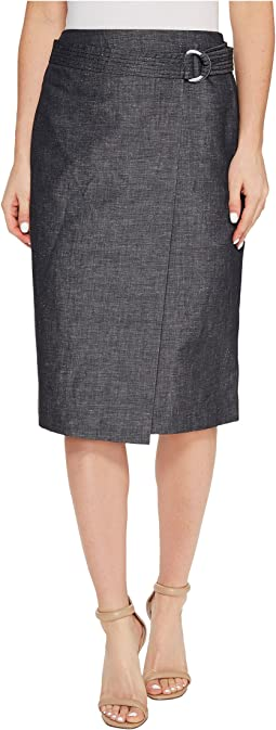 Faux Wrap Belted Skirt
