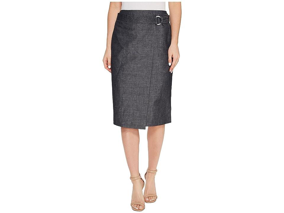 Ellen Tracy Faux Wrap Belted Skirt (Indigo Denim-Face) Women