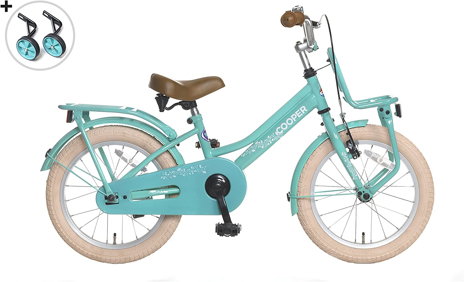 Girl Bike Popal Cooper 16 Inch Front Brake and Rear Coasterbrake Training Wheels Carrier Turquoise - 95% Assembled