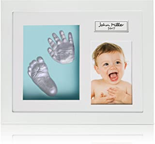 Baby Feet And Hands 3D Model Kit: DIY Casting Set With Wooden Photo Frame, 3 Background Options, Unique Keepsake For Your Newborn, 100% Safe to Use Materials, Very Detailed Impressions By Ola Boutique