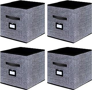 homyfort Caja de Almacenaje Set de 4 Cajas de Juguetes, Caja de Tela para Almacenaje con Cuero maneja, 33 x 33 x 33 cm, Negro Lino XABL04PLP