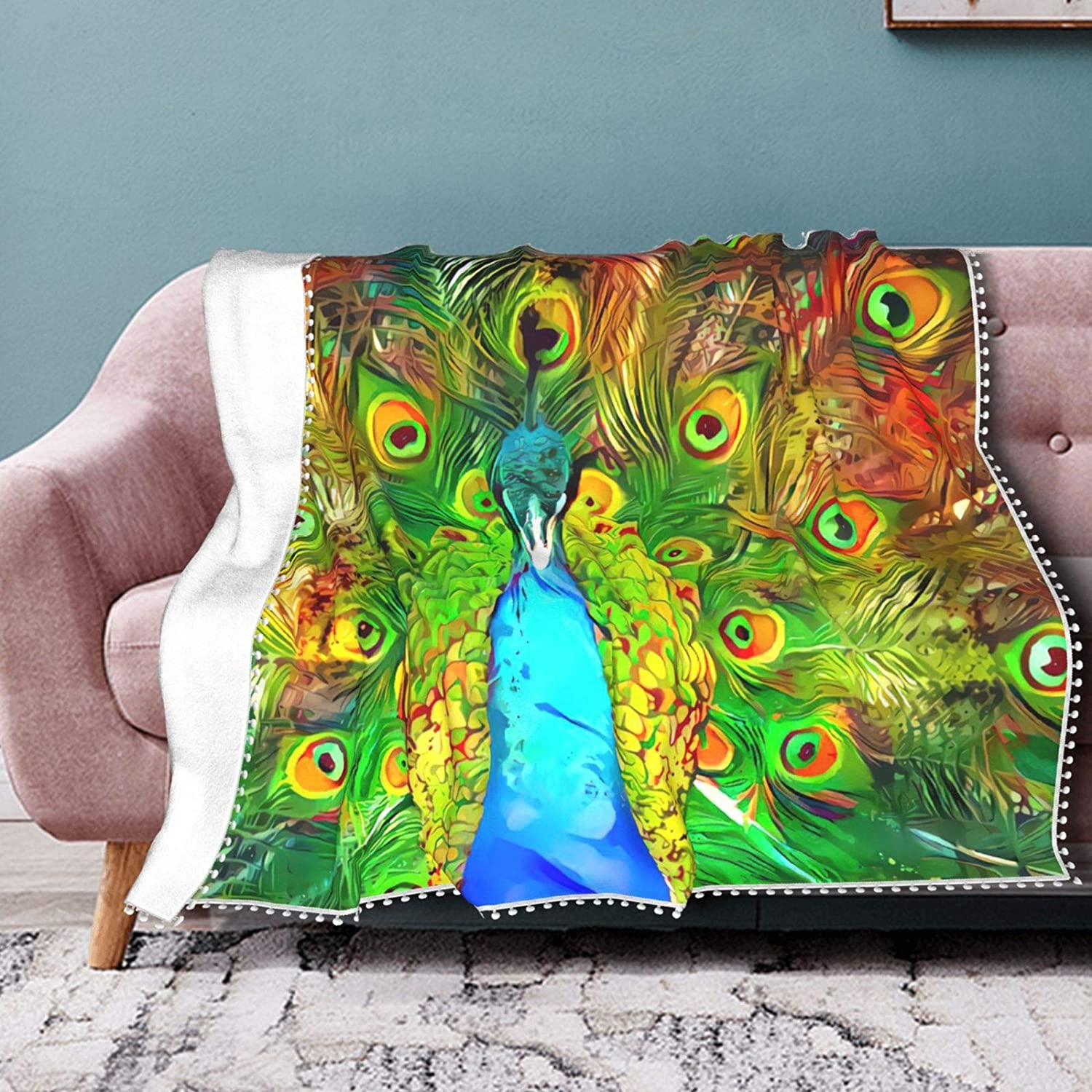 Animer and price revision Fractal Peacock Fleece Throw Blanket Fringe All-Sea Super Special SALE held with Pompom