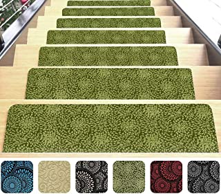 "Indoor Stair Mats | Set of 7 | Olive Green 9""x26"" 