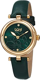 Burgi Diamond Accented Flower Dial Watch - 4 Diamond Hour Markers On Genuine Leather Strap - BUR128