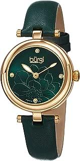 Burgi Women's Quartz Watch, Analog Display and Leather Strap Bur128Gn, Green Band