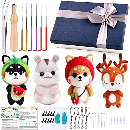 Arts and Crafts Felting Foam Mat Easy for Beginners,Dog Ornament Reduced Pressure Tool B /& D Combined Inc Needl,Instruction Book Wool Needle Felting Starter Kit