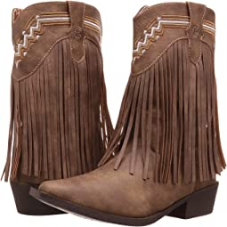 Brown Faux Leather/Vamp Fringe Shaft