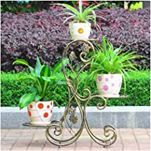 JUAN Plant Display Stand, Can Accommodate 3 Large Flower Pots for Indoor and Outdoor Courtyard Terrace Metal Flower Pot Rack (45 * 26 * 68cm) (Color : Bronze)