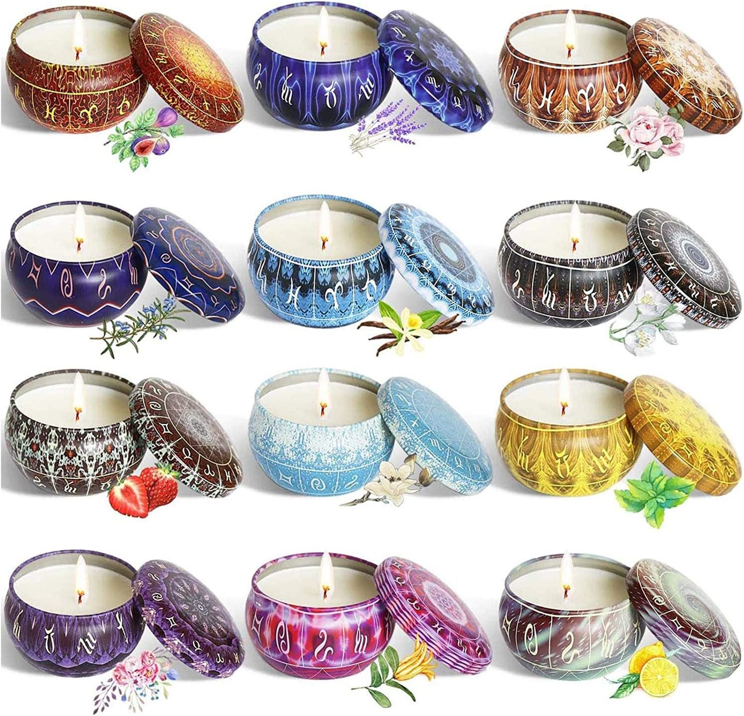 Aebor 12 Constellation Finally Boston Mall resale start Scented Candles Set Natural Soy of Made W