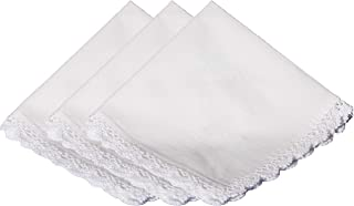 Cotton Christening Hankie Handkerchief Heirloom with Crochet Lace - 3 Pack