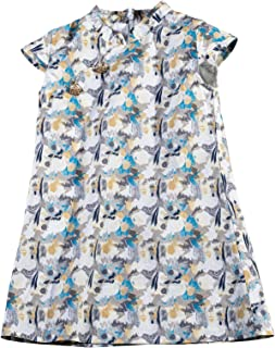 ROMPERINBOX Toddler Girl Dress Cotton Short Sleeve Tie-Dye Print Party Birthday Sundress Qipao Cheongsam Skirt 1-6T