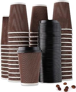 اكواب للشرب للاستخدام مرة واحدة 50 قطعة من شايا، اكواب معزولة منقوشة باغطية لشرب القهوة (8 اونصة، اكواب بنية باغطية سوداء)