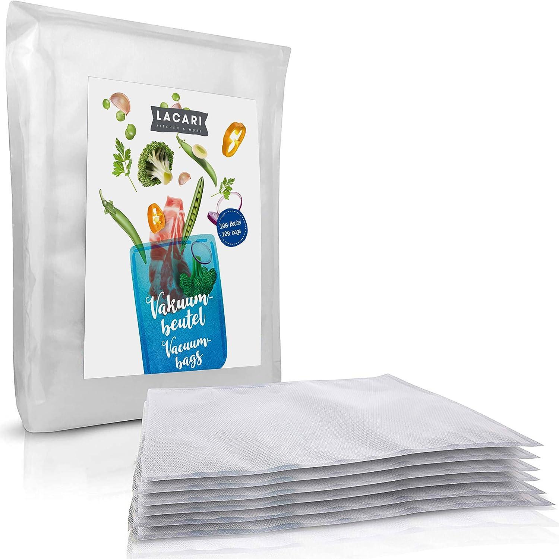 LACARI bolsas de vacio 100pc   Para alimentos   Libre de BPA   Para cocción de vacio a prueba de roturas y ebullición   Bolsas de 90µm   Para todo tipo de envasadoras   En tamaño de 20x30 cm