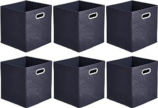 AmazonBasics - Cubos plegables de tela con ojales ovalados, 6 unidades, Marino, Paquete 6