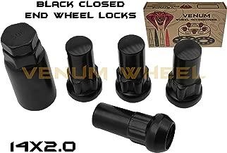 4pc Anti-Theft Black Wheel Locking Lug Nuts 14x2.0 2